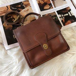 Coach Vintage Brown Leather Station Crossbody Bag